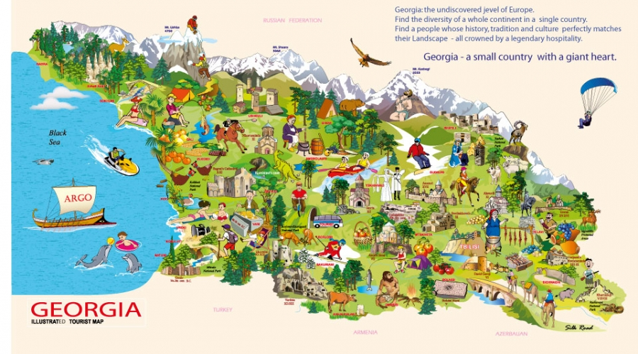 Georgia a small country with a giant heart map of georgia in new tourist map of georgia geotv gumiabroncs Gallery