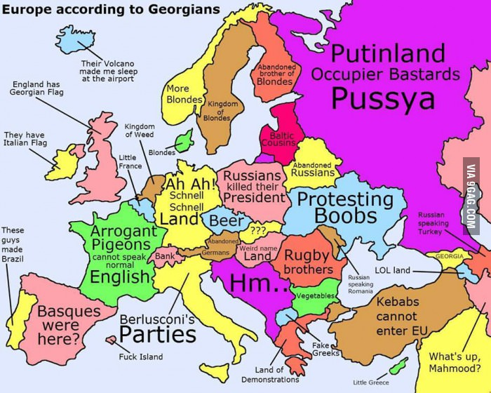 Europe According To Georgians Stereotypical Map By The US - Weird maps of the us